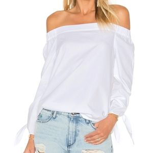 FREE PEOPLE Show Me Some Shoulder White Blouse Top